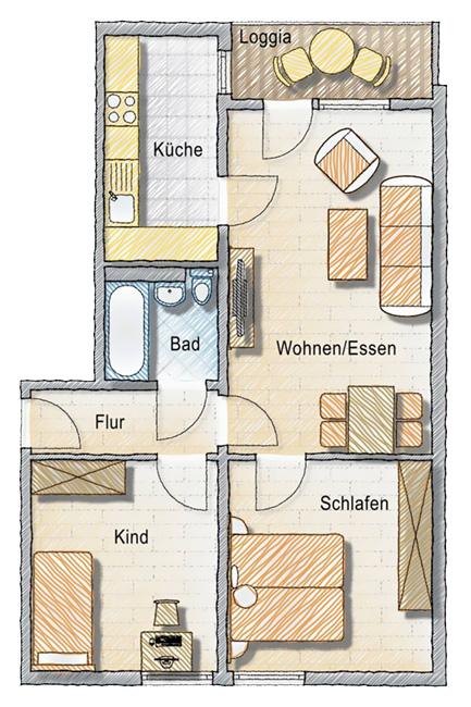 Grundriss Wohnraumbeispiel